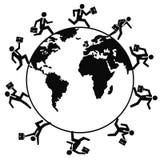 Hombres de negocios que corren en todo el mundo Fotos de archivo