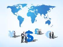 Hombres de negocios que discuten sobre finanzas globales Imagenes de archivo
