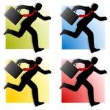 Hombres de negocios que ejecutan las siluetas 2 ilustración del vector
