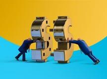 Hombres de negocios que hacen el dinero en la cooperación Ejemplo del concepto del asunto Imagen de archivo libre de regalías