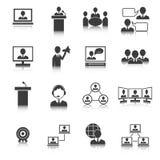 Hombres de negocios que hacen frente a los iconos fijados Imagen de archivo