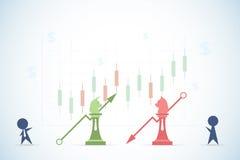 Hombres de negocios que juegan a ajedrez del toro y del oso con símbolos financieros del gráfico y del dólar, el mercado de acció Fotos de archivo libres de regalías