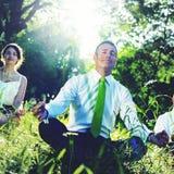 Hombres de negocios que meditan concepto de la relajación de la naturaleza Imagen de archivo