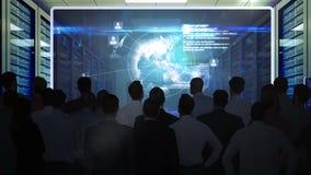 Hombres de negocios que miran el interfaz de la tecnología en la pantalla libre illustration
