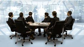 Hombres de negocios que miran el interfaz digital mientras que teniendo una reunión stock de ilustración