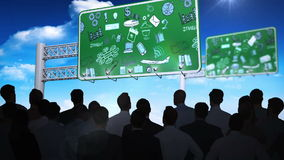 Hombres de negocios que miran intercambio de ideas en las carteleras stock de ilustración