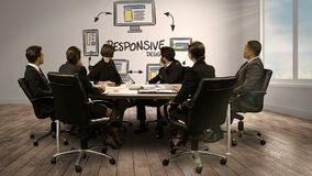 Hombres de negocios que miran la pantalla digital que muestra diseño responsivo libre illustration