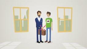 Hombres de negocios que sacuden las manos, acabando para arriba una animación de la reunión Acoger con satisfacción el apretón de ilustración del vector