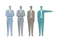 Hombres de negocios que se colocan y que señalan Fotografía de archivo libre de regalías