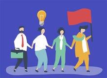 Hombres de negocios que siguen al líder para encontrar un nuevo mercado ilustración del vector