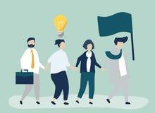 Hombres de negocios que siguen al líder para encontrar un nuevo mercado stock de ilustración