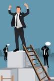 Hombres de negocios que suben al top de la caja Imagen de archivo