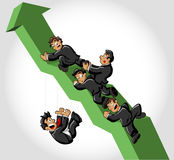 Hombres de negocios que suben la flecha verde Fotografía de archivo libre de regalías