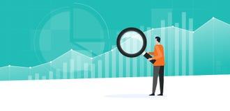 Hombres de negocios que trabajan analytics y que supervisan plan de las finanzas de la inversión en tablero de instrumentos del g stock de ilustración