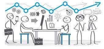 Hombres de negocios que trabajan en una oficina ilustración del vector