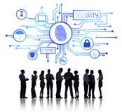 Hombres de negocios que trabajan y concepto de la seguridad de la red Fotos de archivo libres de regalías