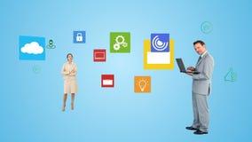 Hombres de negocios que usan tecnología stock de ilustración