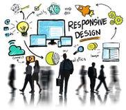 Hombres de negocios responsivos del concepto del viajero del web de Internet del diseño Imagenes de archivo