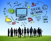Hombres de negocios sociales del concepto de la aspiración de la red social medios Foto de archivo libre de regalías