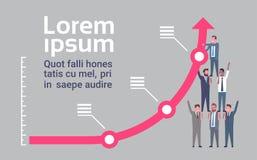 Hombres de negocios Team Raising Financial Graph Arrow encima del concepto del éxito y del trabajo en equipo stock de ilustración