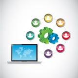 hombres de negocios y diagrama de la tecnología Imagenes de archivo
