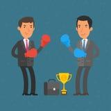 Hombres de negocios y duelo del boxeo ilustración del vector