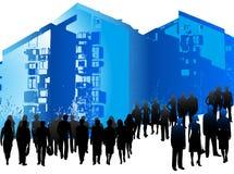 Hombres de negocios y edificios stock de ilustración