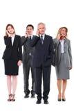 Hombres de negocios y empresarias con el móvil Imágenes de archivo libres de regalías