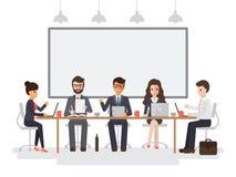 Hombres de negocios y encuentro de las empresarias stock de ilustración