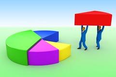 Hombres de negocios y gráfico de sectores Imagen de archivo