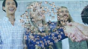 Hombres de negocios y imágenes del perfil con códigos de programa ilustración del vector