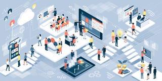 Hombres de negocios y tecnología stock de ilustración