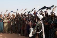 Hombres de Wodaabe en Gerewol, curación Salee, Niger Fotografía de archivo libre de regalías