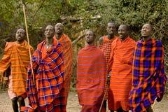 Hombres del Masai del baile Foto de archivo