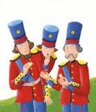 Hombres del rey con los pedazos de Humty Dumpty Fotografía de archivo libre de regalías