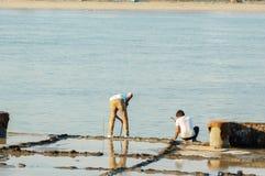 Hombres del trabajador de construcción que examinan los bloques llenos de agua para el concr fotos de archivo libres de regalías