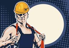 Hombres del trabajador industrial con la cuerda ilustración del vector