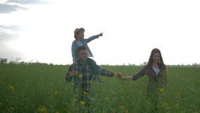 Hombres divertidos con el muchacho en hombros y paseo femenino y comunicar en campo verde de la colza contra el cielo brillante almacen de metraje de vídeo
