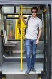 Hombres en el autobús del transporte público Imágenes de archivo libres de regalías