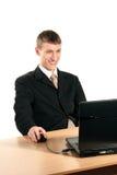 Hombres en el funcionamiento del desgaste formal Imagenes de archivo