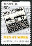 Hombres en el sello australiano del trabajo Imágenes de archivo libres de regalías