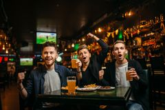 Hombres en la tabla con la cerveza, las patatas a la inglesa y las galletas Imágenes de archivo libres de regalías