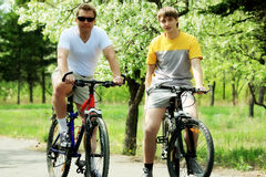 Hombres en las bicicletas Imagenes de archivo
