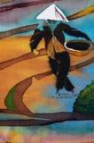 Hombres en las terrazas del arroz, fragmento, batik caliente, arte abstracto hecho a mano del surrealismo en la seda stock de ilustración