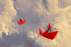 Hombres en los barcos de papel rojos que flotan en el cielo nublado stock de ilustración