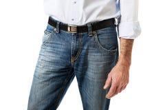 Hombres en pantalones de los vaqueros Fotos de archivo