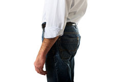 Hombres en pantalones de los vaqueros Imagen de archivo libre de regalías