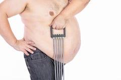 Hombres grandes del vientre antes de la dieta y de la aptitud foto de archivo