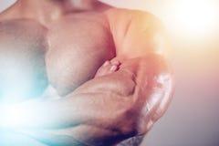 Hombres hermosos caucásicos brutales de la aptitud en pum del pecho del entrenamiento de la dieta fotos de archivo