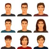 Hombres jovenes con el diverso peinado Foto de archivo